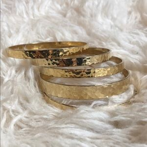 AV Max bangles! Set of 5 hammered gold!